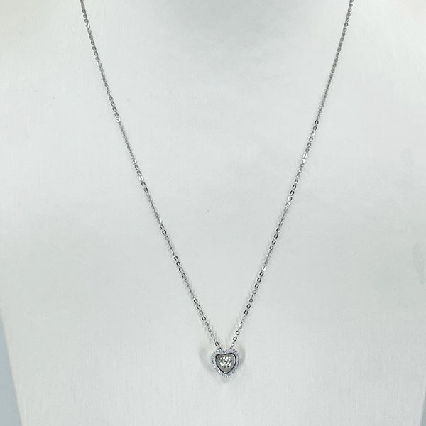 "18K Solid White Gold Round Link Chain Necklace with Diamond Heart Pendant 18"" D0.03 CT"