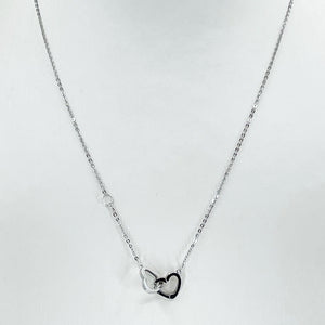 "18K Solid White Gold Round Link Chain Necklace with Double Heart Pendant 17"" 2.0 Grams"