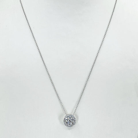 "14K Solid White Gold Round Link Chain Necklace with Diamond Pendant 16"" or 18"" D0.65CT"