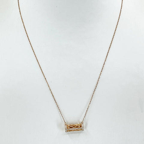 "18K Solid Rose Gold Round Link Chain Necklace with Diamond Barrel Pendant 15.5"" - 17.5"" D0.27 CT"