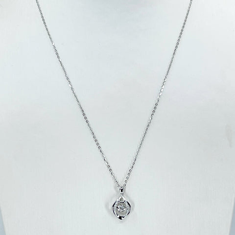"18K Solid White Gold Round Link Chain Necklace with Diamond Pendant 16"" - 18"" D0.05CT"