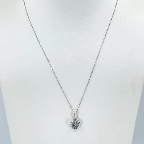 "18K Solid White Gold Round Link Chain Necklace with Diamond Pendant 16"" or 18"" D0.05 CT"