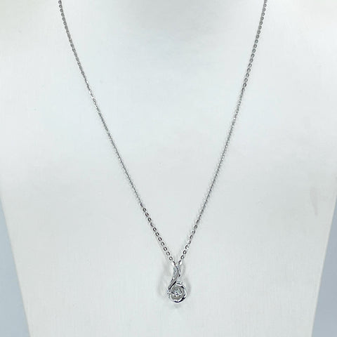 "18K Solid White Gold Round Link Chain Necklace with Diamond Pendant 17"" D0.047 CT"