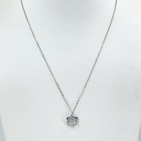 "18K Solid White Gold Round Link Chain Necklace with Diamond Star Pendant 18"" D0.12 CT"