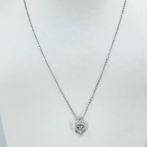 "18K Solid White Gold Round Link Chain Necklace with Diamond Pendant 18"" D0.11 CT"