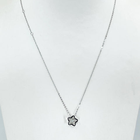 "18K Solid White Gold Round Link Chain Necklace with Diamond Star Pendant 18"" D0.02 CT"