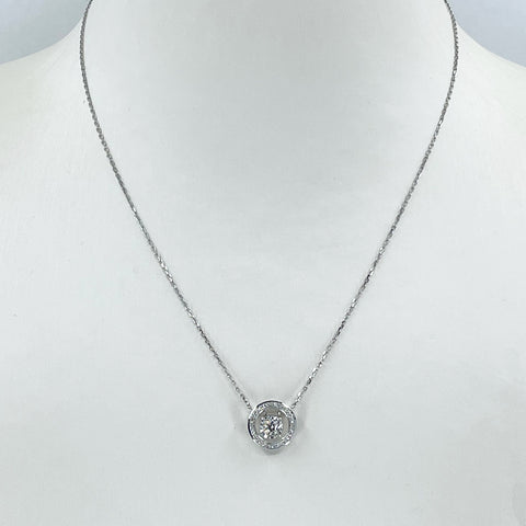 "18K Solid White Gold Link Chain Necklace with Diamond Pendant 15"" D0.26 CT"