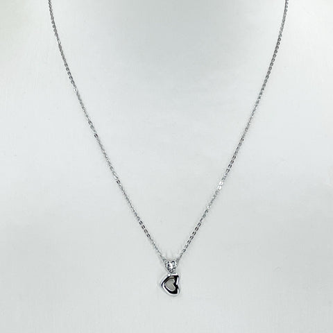 "18K Solid White Gold Round Link Chain Necklace with Heart Pendant 16"" 2.1 Grams"