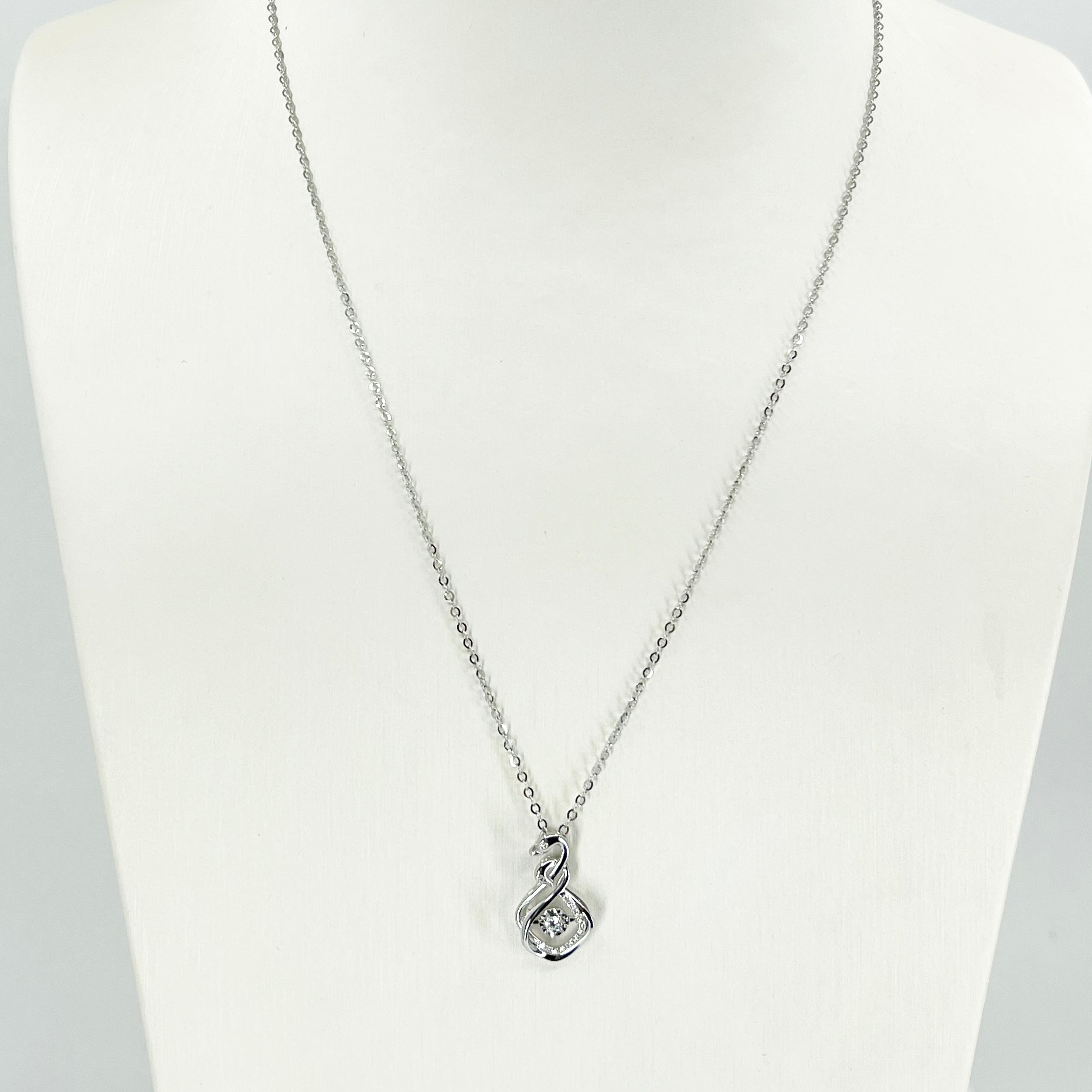 "18K Solid White Gold Round Link Chain Necklace with Diamond Swan Pendant 16"" - 18"" D0.082CT"