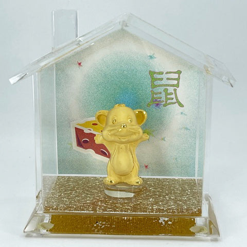 "24K Solid Yellow Gold Mouse Rat Ornament Figurine 1.5"" x 1"""