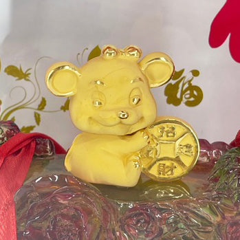 "24K Solid Yellow Gold Mouse Rat Holding Money Ornament Figurine 1 1/4"" x 1 1/2"""
