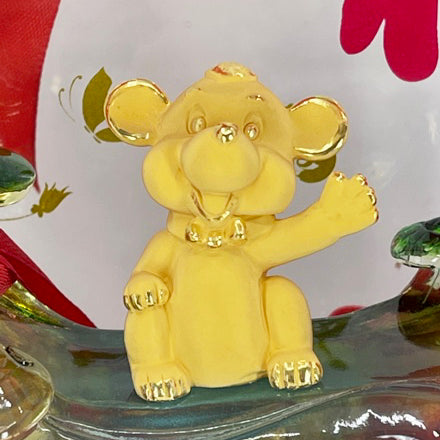 "24K Solid Yellow Gold Happy Mouse Rat Ornament Figurine 1 1/2"" x 1 1/2"""