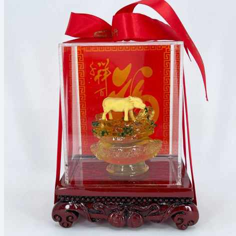 "24K Solid Yellow Gold Ox Cow Blessing Ornament Figurine 1/2"" x 1 1/4"""