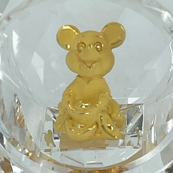 "24K Solid Yellow Gold Cute Mouse Rat Holding Gold Crystal Ornament Figurine 7/8"" x 5/8"""
