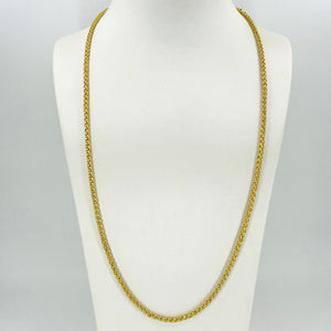 24K Solid Yellow Gold Braided Rope Chain 38.2 Grams 995