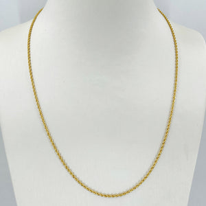 "24K Solid Yellow Gold Rope Chain 7.8 Grams 19.5"" 999.9"