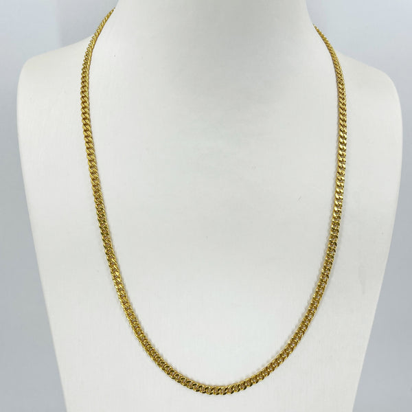 "24K Solid Yellow Gold Flat Cuban Link Chain 28.9 Grams 20"" 9999"
