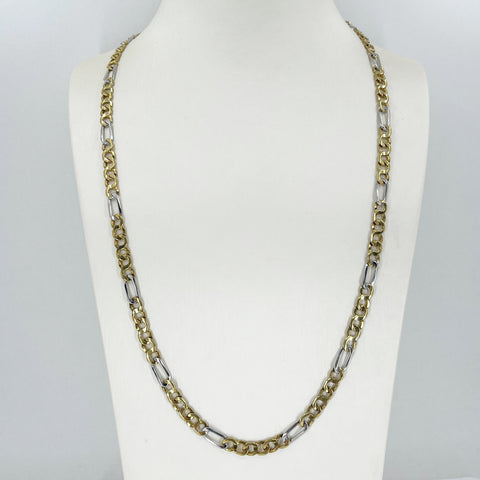 "14K Solid Two Tone White Yellow Gold Figaro Style Link Chain 24"" 29.7 Grams"