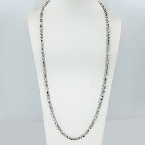 "14K Solid White Gold Beaded Ball Chain 27.5"" 32.2 Grams"