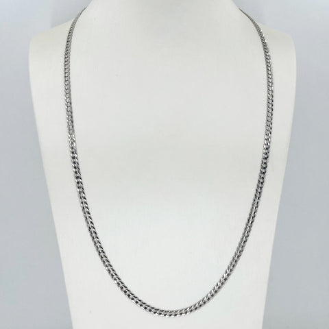 "14K Solid White Gold Cuban Link Chain 24"" 8.8 Grams"