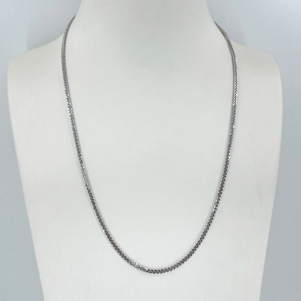 "18K Solid White Gold Adjustable Wheat Link Chain Maximum 20"" 8.5 Grams"