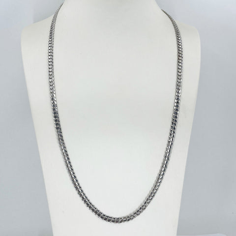 "14K Solid White Gold Cuban Link Chain 24"" 21.1 Grams"