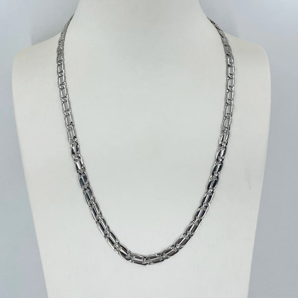 "18K Solid White Gold Design Link Chain with 14K Lock 20"" 28.8 Grams"