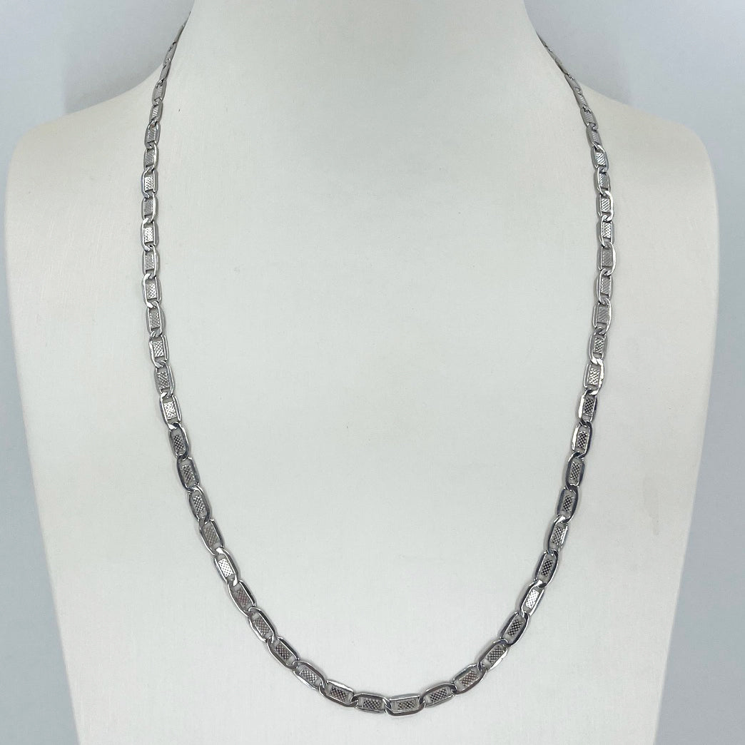 "14K Solid White Gold Design Link Chain 20"" 6.4 Grams"