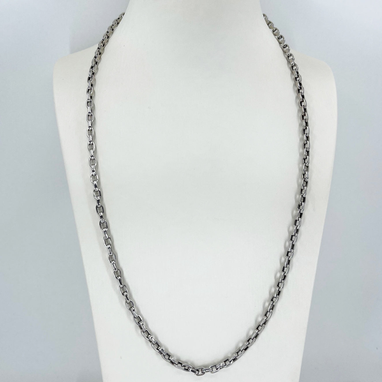 "14K Solid White Gold Oval Link Chain 24"" 14.7 Grams"