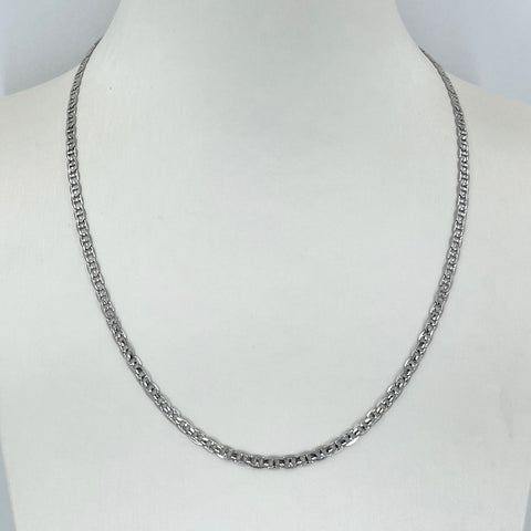 "14K Solid White Gold Anchor Link Chain 18"" 8.0 Grams"
