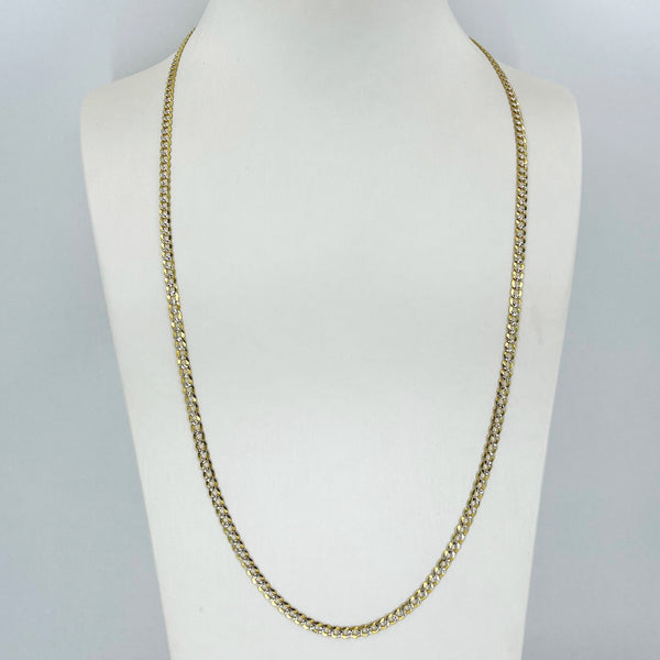 "14K Solid Yellow Gold Stone Cut Cuban Link Chain 24"" 9.4 Grams"