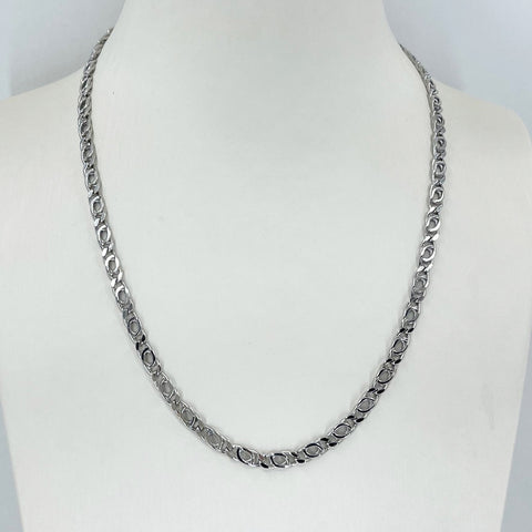 "14K Solid White Gold Design Link Chain 18"" 9 Grams"