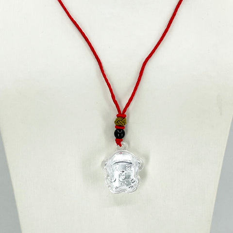 Red String Mouse Silver Necklace
