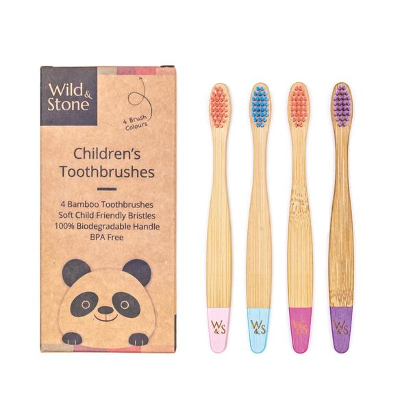 Wild & Stone - Children's Bamboo Toothbrush, 4 pack, Candy Colour