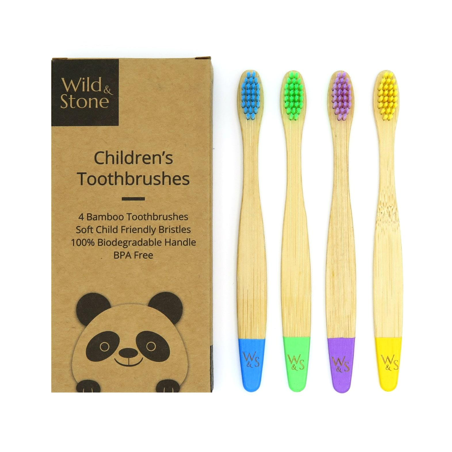Wild & Stone - Children's Bamboo Toothbrush, 4 pack, Multi-Colour