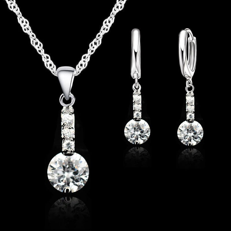 Elegant Silver Jewelry Set - Crystal Pendant Silver Set For Women