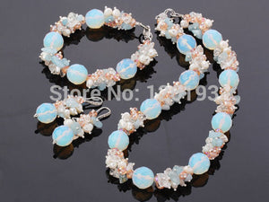 Pearl Crystal,Opal stone Necklace Bracelet Earrings Set