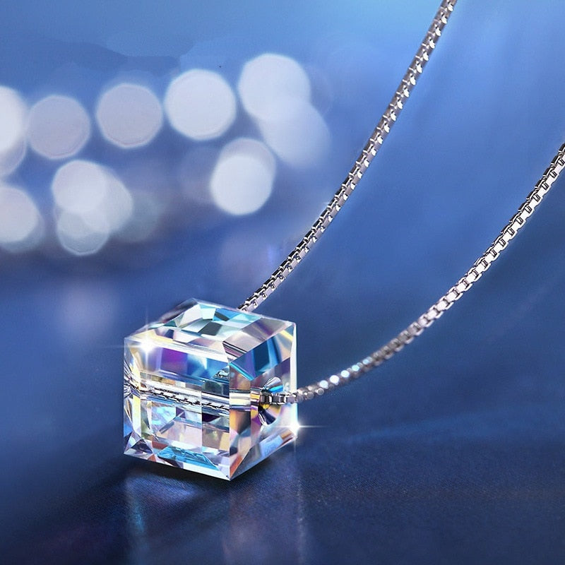 925 Sterling Silver Necklaces For Women Box Chain Crystal