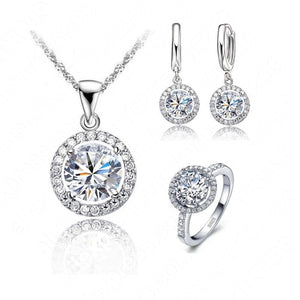 Classic Round Zircon Crystal 925 Sterling Silver Necklace/ Earring/ Ring Jewelry Set for Women