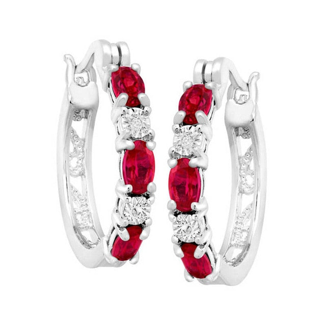 Round Silver 925 Jewelry Gemstones Earrings for Women