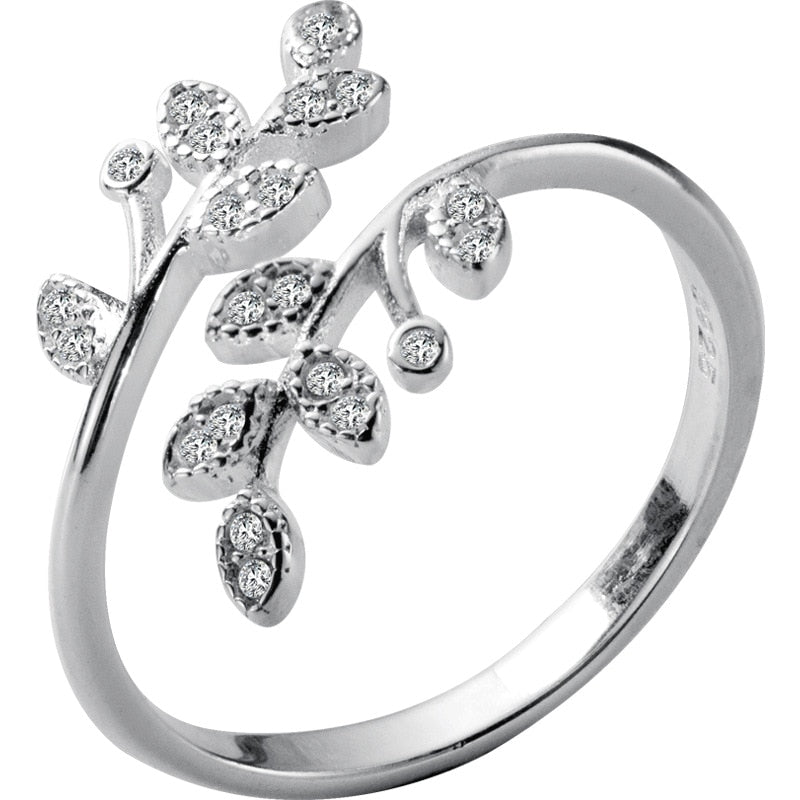 925 Sterling Silver Crystal Leaf Ring