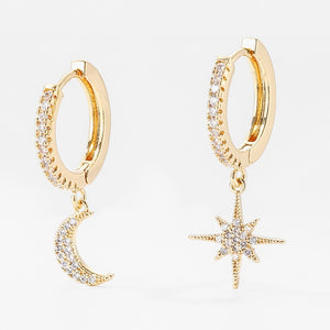 New Fashion Cute Star And Moon Earrings