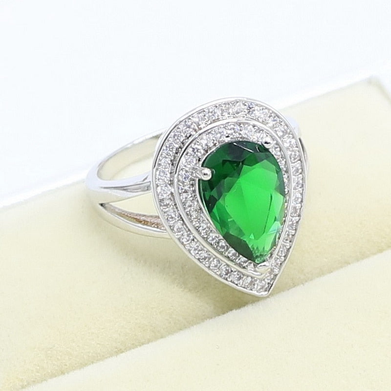 Green Emerald 925 Sterling Silver Ring For Women