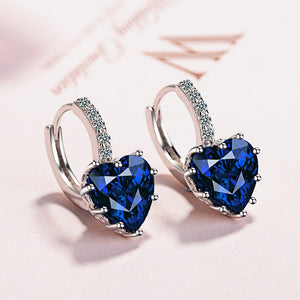 Colorful Crystal Heart Stud Earrings