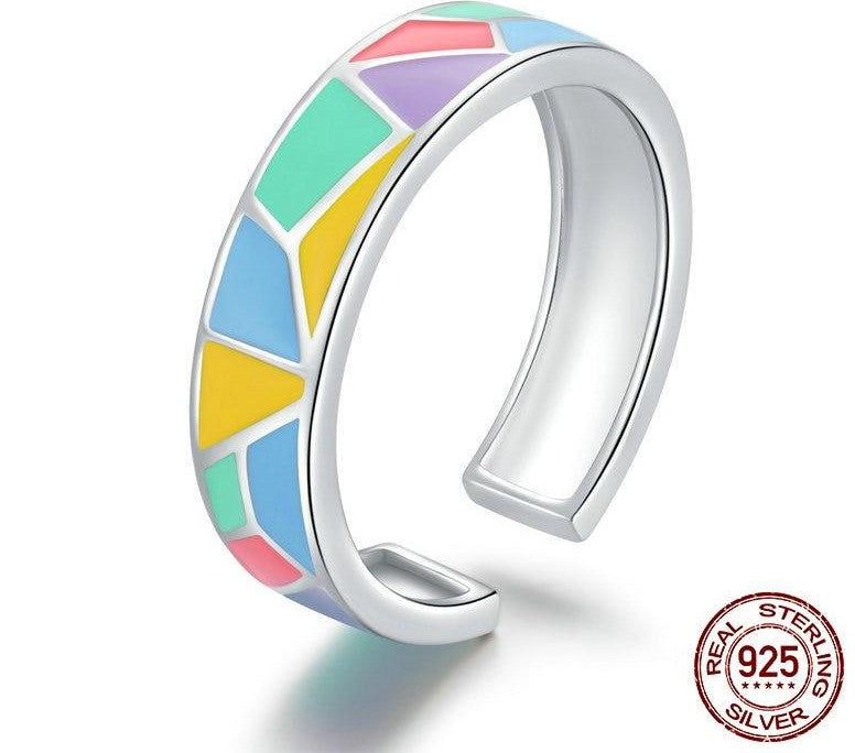 925 Sterling Silver Geometric Colorful Enamel Open Finger Ring