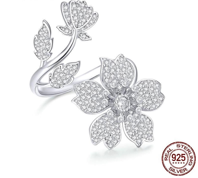 Spring Sakura Flower Open Free Size Finger Ring 925 Sterling Silver