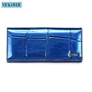 Genuine Leather Women Wallet Magnetic Hasp
