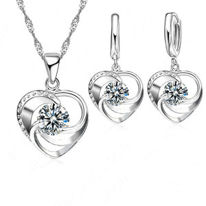 Engagement/Wedding Jewelry Set 100% 925 Sterling Silver .Heart Pendant Necklace/Earrings Set
