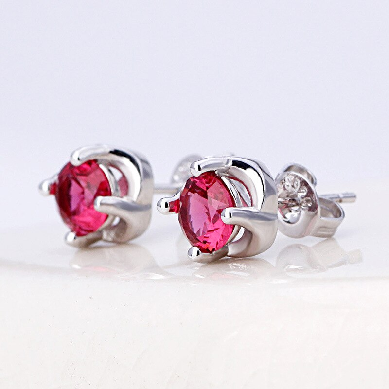 925 Sterling Silver Fashion Red Crystal Rose Flower Stud Earrings