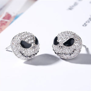 New Nightmare Before Christmas Skull Silver Color Circle Crystal Cartoon Gothic Party Jewelry/ Skull Stud Earrings